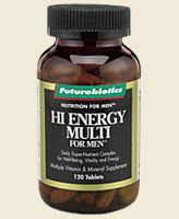 Hi-Energy Multi for Men is the definitive men's multi vitamin and mineral supplement that includes an array of nutrients, including the antioxidant vitamins A, E and C and Selenium, and a full complement of minerals including Zinc, Calcium, Iron and Magnesium. In fact, Hi-Energy Multi for Men contains 100% or more of the recommended daily allowance (RDA) of most nutrients..