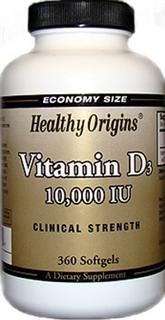 Health Origins Vitamin D3 10,000 is key nutrient manufactured in a highly absorbable liquid softgel from.