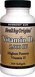 Healthy Origins Vitamin D3 5,000 is key nutrient manufactured in a highly absorbable liquid softgel form..