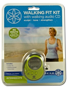Intermediate Kit includes a 45-minute audio CD workout; pedometer has a panic alarm and flashlight. .