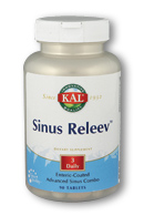 Sinus Releev tablet by KAL contain Bromelain, Quercitin, and herbs to counter sinus discomforts..