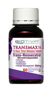 New sustained time release Resveratrol supplement, Biotivia TransmaxTR high potency resveratrol product. In stock..