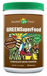 A delicious chocolate drink powder to help achieve your 5 to 9 daily servings of fruits and vegetables. More organic whole leaf greens per gram than other leading green food powders-not from juice..