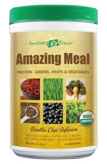 Organic Green Superfood, Amazing Meal by Amazing Grass. Great New Flavor! Amazing Vanilla Chai tastes great!.