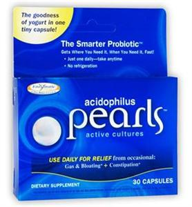 Enzymatic Therapy Acidophilus Pearls increase healthy intestinal flora. The Smarter Probiotic. Start Alive and Stay Alive. Discount Vitamin Catalog. Seacoast.com.