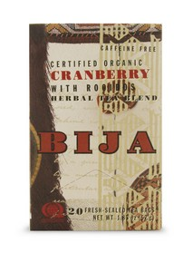 Each Bija Cranberry with Rooibos teabag contains 2,000mg of organic cranberry, which is equivalent to four 500mg capsules and also 600mg of healthy and delicious Rooibos..