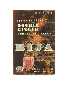 Bija Double Ginger tea packs digestion-aiding ginger into each bag, spikes it with black pepper, and mixes in exotic touches of peppermint leaf and licorice root for a timeless blend that is wonderfully gentle on the stomach..