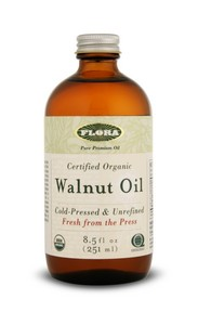 Flora's gourmet Walnut Oil is pressed from certified organic California Walnuts (third party certification)..