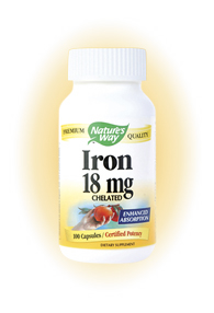 Nature's Way Iron Chelated could be your key to healthy blood. Iron is a vital component of hemoglobin, which carrys oxygen in the blood..