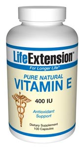 Pure Natural Vitamin E 400 IU- This member of the vitamin E family may: Maintain cell membrane integrity and reduce cellular aging. Act as a free radical scavenger. Maintain healthy platelet aggregation..
