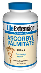 Life Extension offers Ascorbyl Palmitate in a 500 mg capsule, AP is a bioactive, fat-soluble form of vitamin C that can reach tissue areas ascorbic acid cannot..