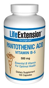 Pantothenic Acid (Vitamin B5) 500 mg- Pantothenic acid plays a role in the synthesis of hemoglobin, steroid hormones, neurotransmitters, and lipids. It is the most important component of coenzyme-A, which assists in several metabolic.