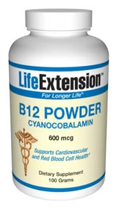 Vitamin B12 (cyanocobalamin) Powder- Vitamin B12 is present in foods of animal origin, including dairy products and eggs. Thus, vegetarians are more susceptible to a dietary deficiency of this important nutrient..