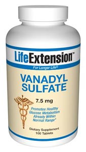 LifeExtension- Vanadyl Sulfate is an effective form of the trace mineral vanadium. Research indi-cates vanadyl sulfate may improve tissue sensitivity and promote already healthy glucose metabolism for those within normal range..