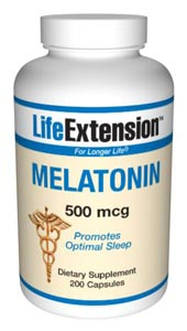 LifeExtension- Nutritional Supplements, Antiaging, Health and Nutrition - Melatonin 500 mcg  Melatonin releases from the pineal gland, reaching its peak at night to help maintain healthy cell division in tissues throughout the body..