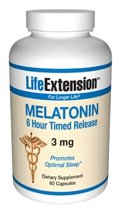 LifeExtension- Nutritional Supplements, Antiaging, Health and Nutrition- Melatonin 6 Hour Timed Release 3 mg. -  Melatonin keeps our circadian cycle in tune as it communicates with the body's cells..