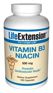 Vitamin B3 Niacin 500 mg-  Niacin is the only B vitamin that can be synthesized in the body from the amino acid tryptophan.  In its coenzyme forms, niacin is crucial to energy transfer reactions.
