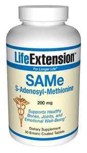 LifeExtension- SAMe (S-adenosylmethionine) 200 mg is an amino acid derivative normally synthesized in the body..