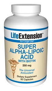 LifeExtension- Super Alpha-Lipoic Acid with Biotin is an antioxidant used in Europe to promote liver and nerve health, and confer protective benefits against oxidative processes. Alpha-lipoic acid has been called the universal amino acid. Nutritional Supplements, Antiaging, Health and Nutrition..