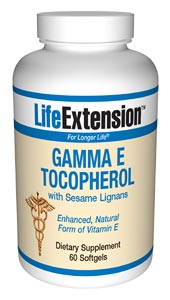 Gamma E Tocopherol with Sesame Lignans- According to the Proceedings of the National Academy of Sciences, alpha tocopherol (regular vitamin E) displaces critically important gamma tocopherol in the cells..