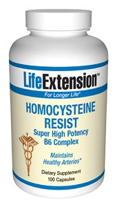 Homocysteine Resist- Life Extension has long warned members about the dangers of high homocysteine and has advised taking vitamin B6, folic acid, and vitamin B12 to help maintain healthy arteries..