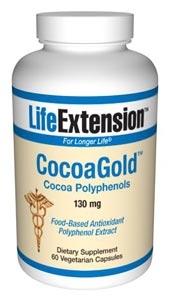 LifeExtension- CocoaGold Cocoa Polyphenols  which provide dietary anti-oxidant benefits, are naturally abundant in cocoa beans. Cocoa polyphenols, as found in dark chocolate, have shown beneficial effects on cardiovascular health, especially vascular health..