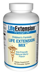The Childrens Formula Life Extension Mix contains ingredients from Life Extension Mix in amounts that are suitable for children four years and older. Each easy to chew tablet contains ten essential minerals and vitamins, including A, D and Cimportant for a childs healthy development and growth..