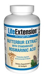 Butterbur Extract with Standardized Rosmarinic Acid- For nearly three decades, doctors in Germany have used a standardized extract of the herb butterbur for their patients suffering from nasal discomfort and its related problems..