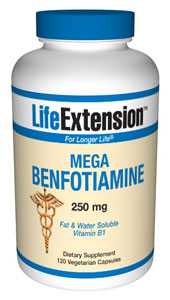 Mega Benfotiamine 250 mg- Benfotiamine, a fat-soluble form of vitamin B1 (thiamine), supports healthy blood sugar metabolism and helps protect the body's tissues against advanced glycation end products and oxidative stress. .