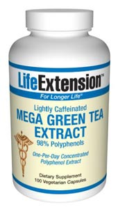 The active constituents in Mega Green Tea Extract are polyphenols, with an antioxidant called epigallocatechin-3-gallate (EGCG) being the most powerful. The antioxidant activity of EGCG is about 25100 times more potent than vitamins C and E..