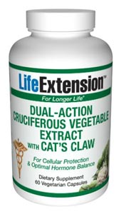 LifeExtension- Dual-Action Cruciferous Vegetable Extract With Cats Claw - Cruciferous vegetables (broccoli, cauliflower, brussels sprouts) are a rich source of glucosinolates and their hydrolysis products, including indolesand isothiocyanates..