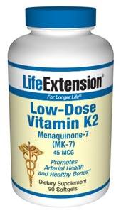 Low-Dose Vitamin K2 45 mcg- Vitamin K2 (menaquinones) is found in meat, eggs, and dairy products and is also made by bacteria in the human gut, which provides a certain amount of the human vitamin.
