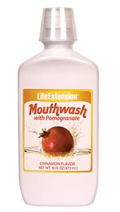 LifeExtension-  Mouthwash with Pomegranate- Brushing helps break up the sticky film on teeth. Active rinsing helps prevent the build-up of that film which could otherwise harden over time..