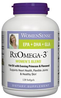 RxOmega-3 Womens blend naturally promotes heart health, flexible joints and healthy glowing skin..