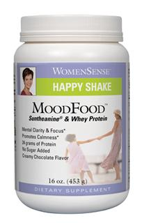 MoodFood is a delicious creamy chocolate shake formulated with Suntheanine and Whey Protein. Suntheanine, an amino acid found in green tea, promotes calmness, positive mood and mental clarity..