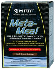 MRM's meal replacement, Meta-Meal is convenient and nutritious. 20 individually wrapped pouches are easy to travel with. Chocolate flavored.