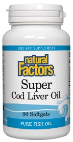 Natural Factors Super Cod Liver Oil contains 2,500 IU of Vitamin A and 200 IU of Vitamin D..