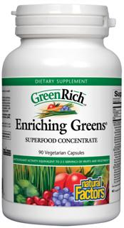 Enriching Greens is a super concentrated whole foods formula containing over 40 health-promoting ingredients, including micro-nutrient dense spirulina and BerryRich high antioxidant fruit concentrate..