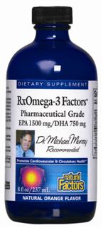 RxOmega-3 Factors is a pharmaceutical grade liquid fish oil concentrate. that delivers high levels of DHA and EPA, essential to proper brain and heart function and enhancing memory, focus, and concentration..