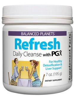 Refresh Daily Cleanse with PGX is a blend of superfoods designed to work synergistically to efficiently cleanse and purify your body..