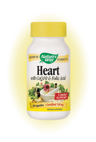 Nature's Way Heart promotes cardiovascular health with the powerful synergy of current scientific research and traditional herbal medicine.  Contains CoQ10..