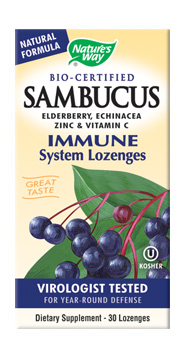 Sambucol Original Lozenges features black elderberry extract.
