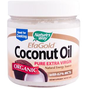 EfaGold Coconut Oil contains 62% MCTs - medium chain 'good fats' the body uses to produce energy..