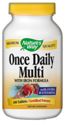 Once Daily Multivitamin with Iron and Vitamin B12.