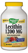 Lecithin 1200 mg contains phosphatidyl choline and phosphatidyl inositol.