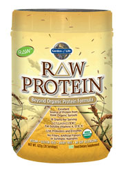 Featuring 14 raw and organic sprouts, RAW Protein is an excellent source of complete protein, providing 18 grams, or 35% of the Daily Value, plus all essential amino acids. RAW Protein contains Vitamin Code fat-soluble vitamins and supports digestive health and function with live protein-digesting enzymes and powerful probiotics.