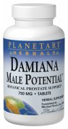 Planetary Herbals Damiana Male Potential blends well known herbs Saw Palmetto, Ginseng and Damiana to create a comprehensive botanical supplement for men..