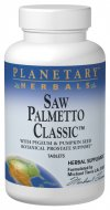 Planetary Herbals Saw Palmetto Classic is a comprehensive formula designed to support the prostate. Saw palmetto berries and pygeum contain a unique class of fatty acids that have the ability to inhibit the conversion of testosterone to dihydrotestosterone in the prostate. This compound utilizes standardized and concentrated amounts of saw palmetto and pygeum along with pumpkin seed oil, a rich source of zinc which is necessary for prostate health. In addition, these are combined with other key botanicals known to support a healthy genitourinary system..