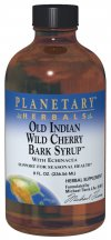 Planetary Herbals Old Indian Wild Cherry Bark Syrup is a combination of some of the finest botanicals in North America and China, traditionally used for supporting the respiratory system. North American classics such as elecampane, horehound, hyssop, and mullein are combined with loquat leaf, fritillaria, and platycodon from Chinese herbalism. In addition, other herbs, including North America's renowned wintertime treasure, echinacea, are added to support internal defenses. The syrup is specially prepared from both fresh and dry herbs, utilizing a multi-step extraction process, designed to capture the essence of each botanical. The quality of this formulation, together with the care that goes into its preparation, provides you with a comprehensive seasonal health supplement..