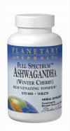 Ashwagandha (winter cherry) is one of the world's most powerful adaptogens, used traditionally in Ayurvedic herbalism to help the body adapt to physiological and psychological stress. Planetary Herbals Full Spectrum Ashwagandha (Winter Cherry) combines whole root powder with root extract to capture all the plants valuable compounds. The result is a botanical that relaxes the mind, rejuvenates the body, and increases resistance to stress..